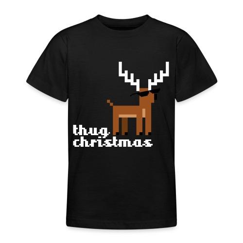 Christmas Xmas Deer Pixel Funny - Teenage T-Shirt