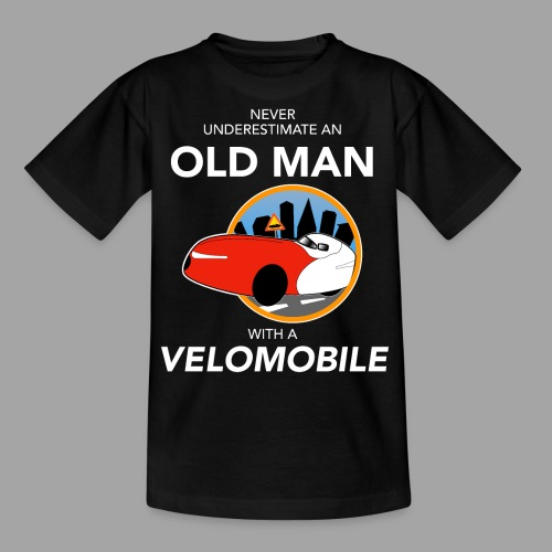 Never underestimate an old man with a velomobile - Nuorten t-paita