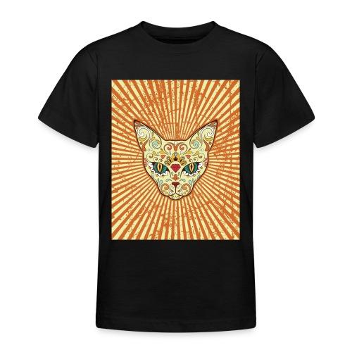 cat calavera grunge effect t shirt design - Maglietta per ragazzi