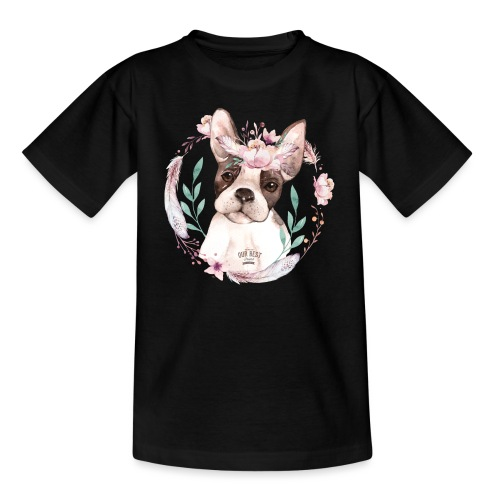 French Bully Flowers - Französische Bulldogge - Teenager T-Shirt