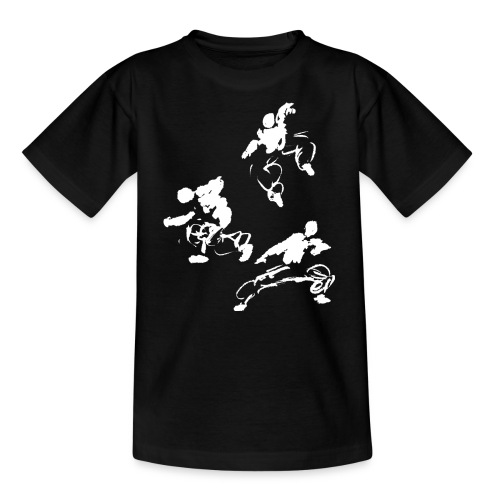 Kung fu circle / ink fighter in motion - Teenage T-Shirt