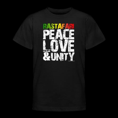 RASTAFARI - PEACE LOVE & UNITY - Teenager T-Shirt