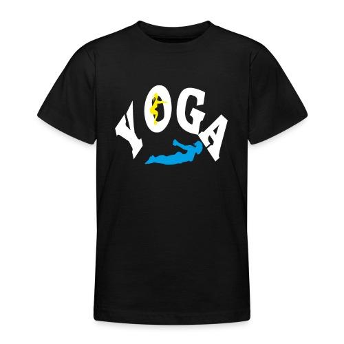 Yoga Schriftzug mit Posen Körperspannung Geschenk - Teenager T-Shirt