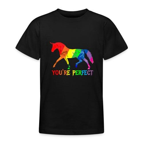 Regenbogen Einhorn - You´re perfect - Teenager T-Shirt
