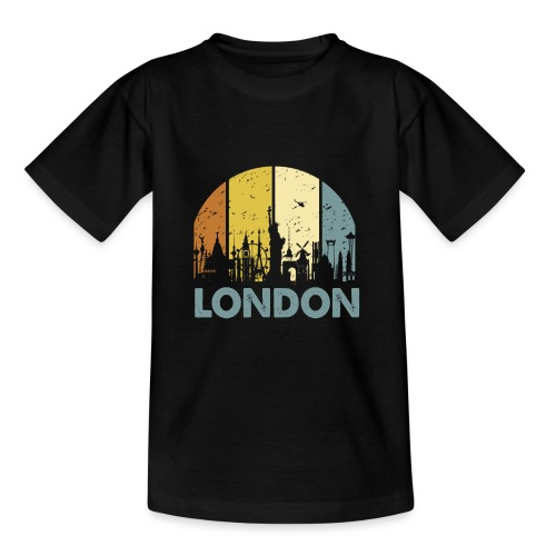 Vintage London Souvenir - Retro Skyline London - Teenager T-Shirt