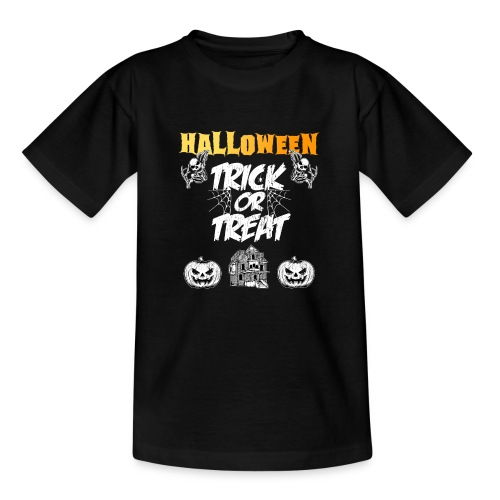 Halloween Night Trick Or Treat Skeletons Pumpkins - Teenage T-Shirt