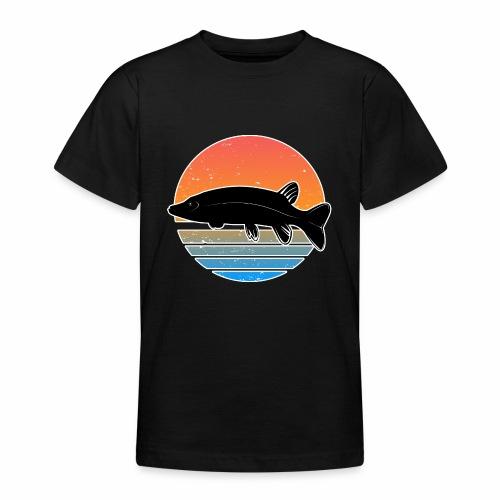 Retro Hecht Angeln Fisch Wurm Raubfisch Shirt - Teenager T-Shirt