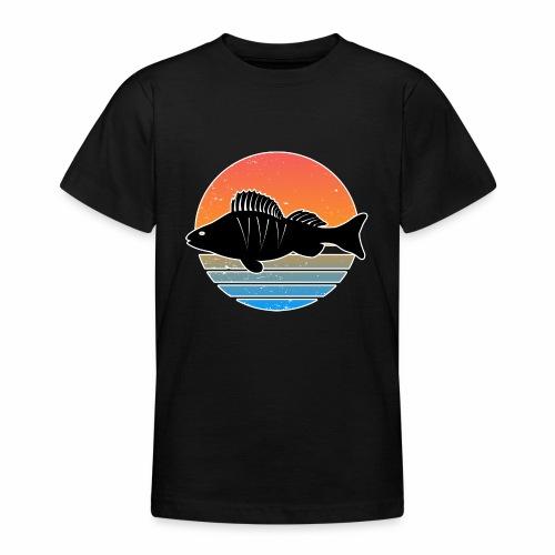 Retro Barsch Angeln Fisch Wurm Raubfisch Shirt - Teenager T-Shirt