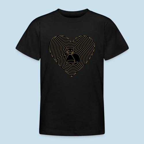Katzen Herz Spirale 2 Färbig - Teenager T-Shirt