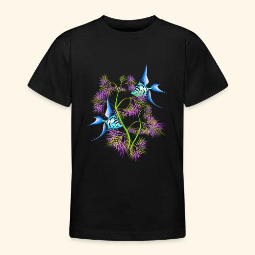 Tropical blue Fish Swimming around plants - Teenage T-Shirt