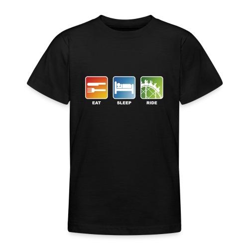 Eat, Sleep, Ride! - T-Shirt Schwarz - Teenager T-Shirt