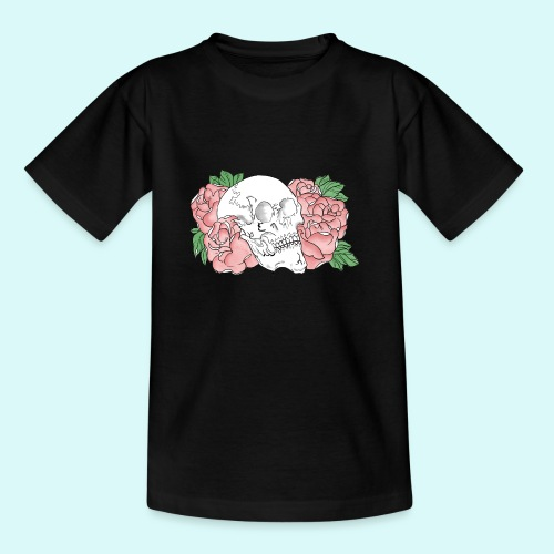 skull et fleurs - T-shirt Ado
