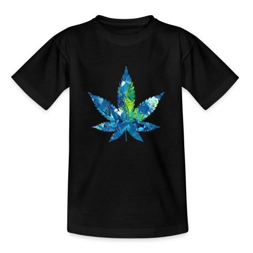 Artful cannabis leaf in acrylic paint - Teenage T-Shirt