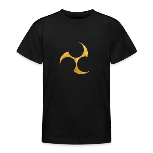 Kobayakawa Mon Japanese clan gold on black - Teenage T-Shirt