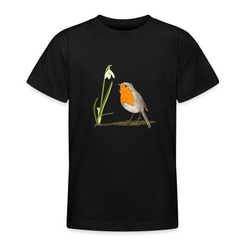 Frühling, Rotkehlchen, Schneeglöckchen - Teenager T-Shirt