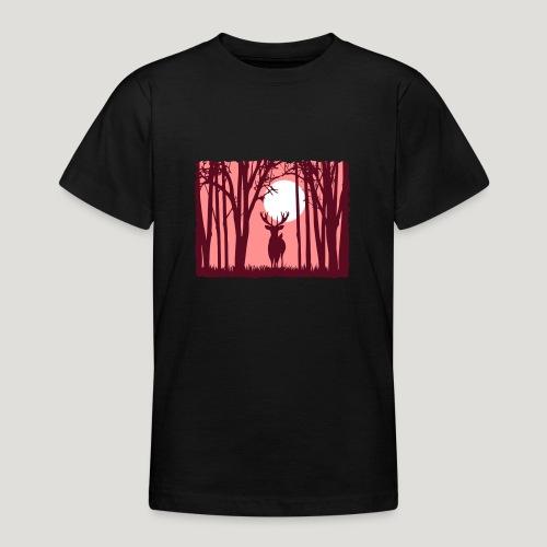 Sonnenuntergang mit Hirsch im Wald Rehbock Natur - Teenager T-Shirt