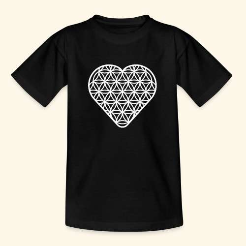 Lebensblume Herz white - Teenager T-Shirt