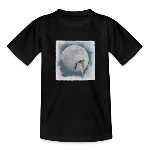 Flying owl full moon watercolor photo art - Teenage T-Shirt