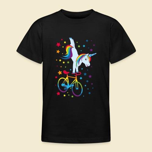 Kunstrad   Einhorn Handstand Regenbogen - Teenager T-Shirt