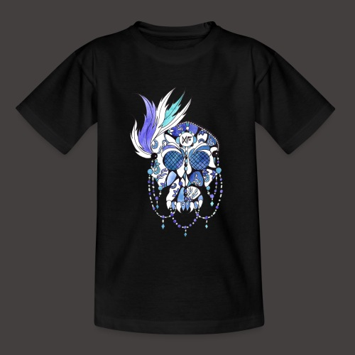 CRANE DENTELLE BLEU FOND NOIR - T-shirt Ado