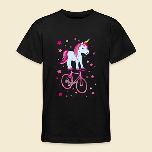 Kunstrad   Einhorn Pink - Teenager T-Shirt