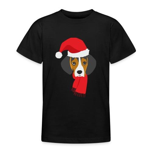Cachorro de beagle vestido de Papa Noel - Camiseta adolescente