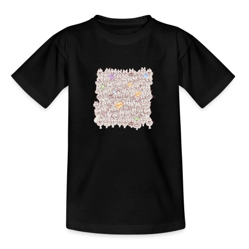 Funny cats posing in a meowing pattern - Teenage T-Shirt