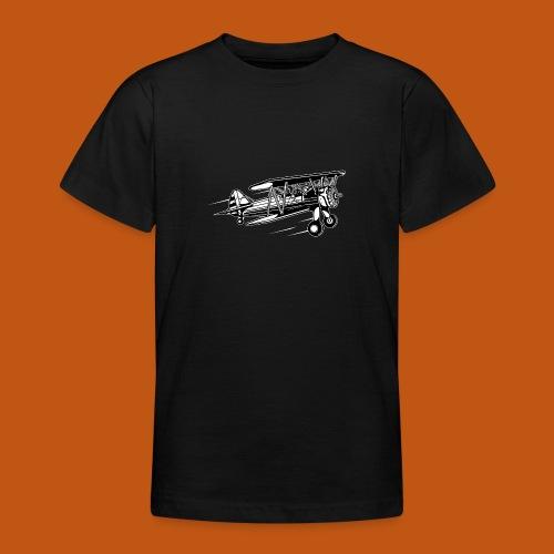 Flieger / Airplane 01_schwarz weiß - Teenager T-Shirt
