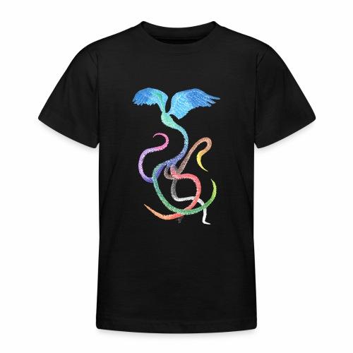 Graceful - Rainbow Bird in Ink - Teenage T-Shirt