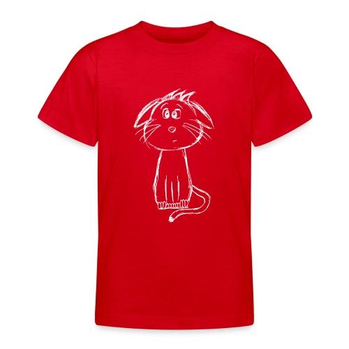 Kissa Kissanpentu valkoinen scribblesirii - Nuorten t-paita