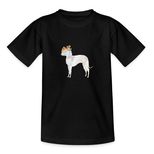bedlington with flower - Teenager-T-shirt