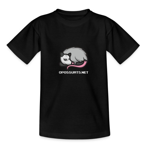 OpossumTS-Logo mit Schrift (WEiß) - Teenager T-Shirt