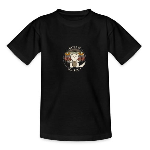 Katze Retro Grillen Lustig Master of Grillwurst - Teenager T-Shirt