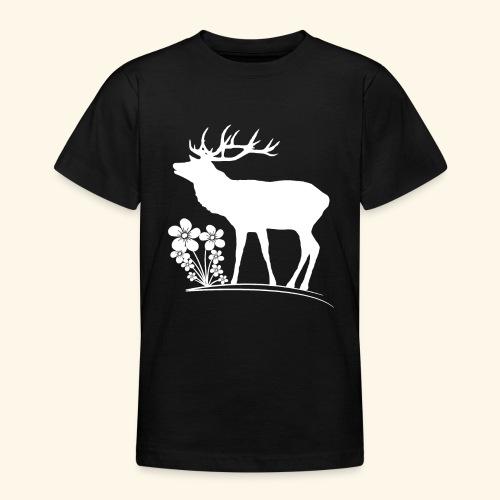 wilder Hirsch mit Blumen, Tiere, Reh, Hirsche - Teenager T-Shirt