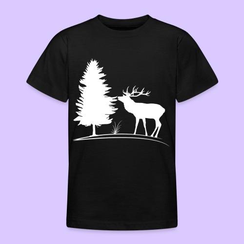 Hirsch, Geweih, Rehbock, Jagd, Wald, Baum, Wild - Teenager T-Shirt