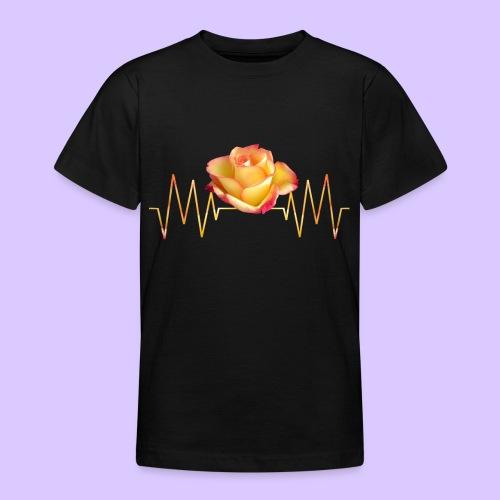 Rose, Herzschlag, Rosen, Blume, Herz, Frequenz - Teenager T-Shirt