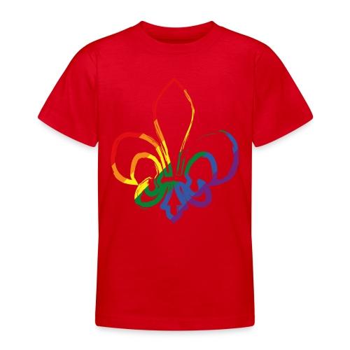Pinselstrich Lilie Regebogenfahne - Teenager T-Shirt