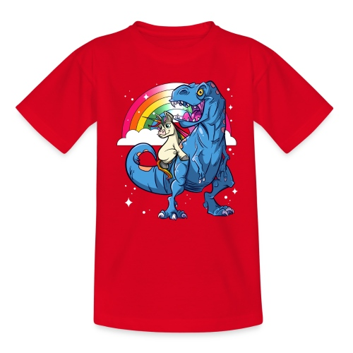 Dinosaurier mit Einhorn - Teenager T-Shirt
