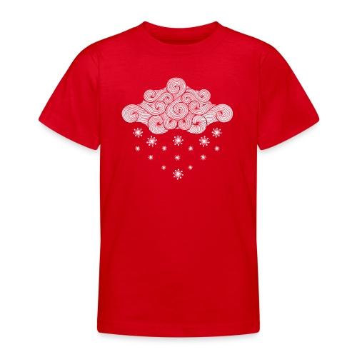 nuage blanc et flocons vacances d'hiver - T-shirt Ado