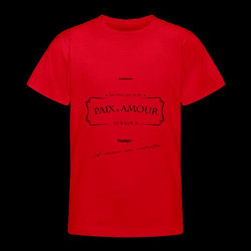 Aller Plus H4ut - Paix & Amour - Noir - T-shirt Ado