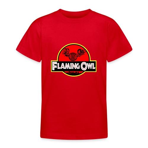 Flaming Jurassic Owl - T-shirt tonåring