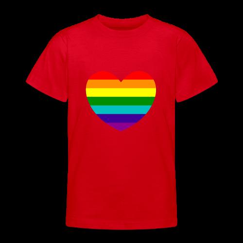 Hart in regenboog kleuren - Teenager T-shirt
