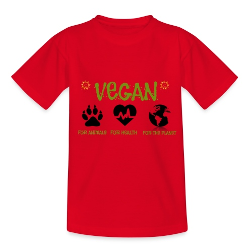 Vegan for animals, health and the environment. - Camiseta adolescente