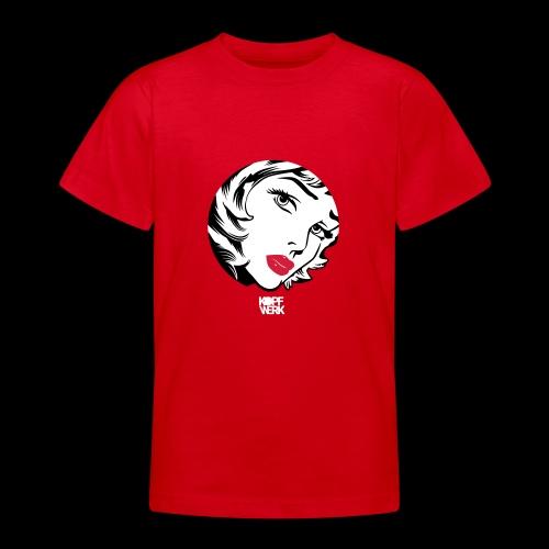 Kopf mit Schrift (weiss) - Teenager T-Shirt