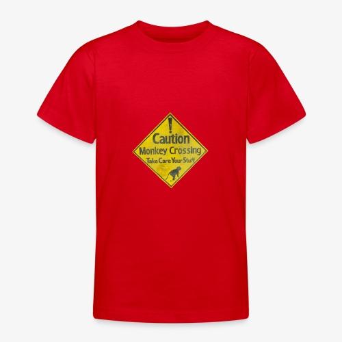 Caution Monkey Crossing - Teenager T-Shirt
