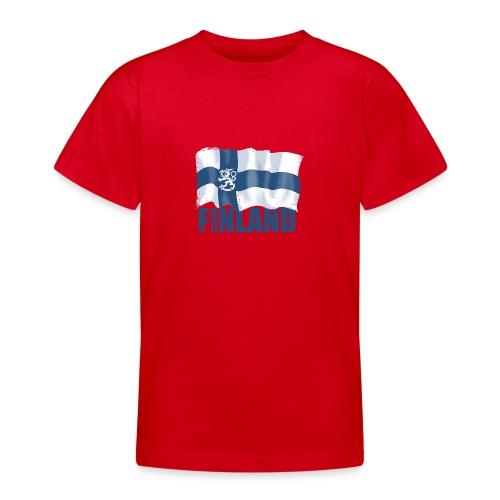 01-SUOMI LEIJONALIPPU - FINLAND LION FLAG - Nuorten t-paita