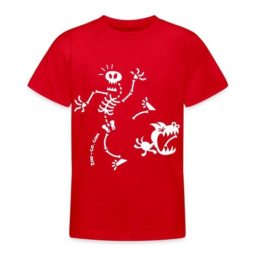 Dog Stealing Skeleton's Bone - Teenage T-Shirt