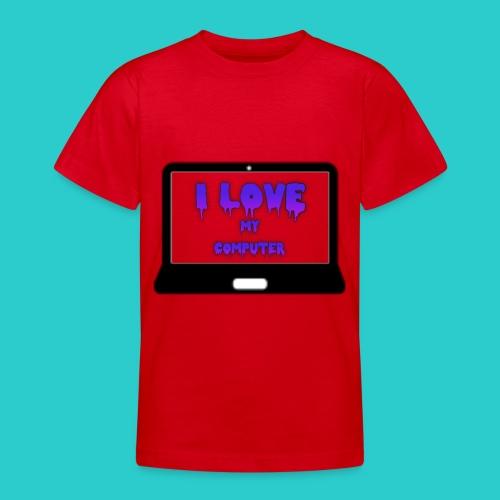 i love my computer png - T-skjorte for tenåringer