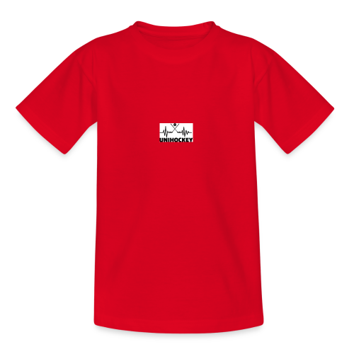 heartbeat pulse line two crossed floorball sticks - Teenager T-Shirt