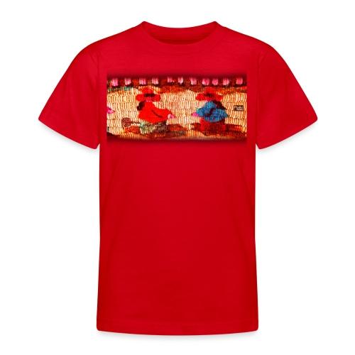 Dos Paisanitas tejiendo telar inca - Teenage T-Shirt